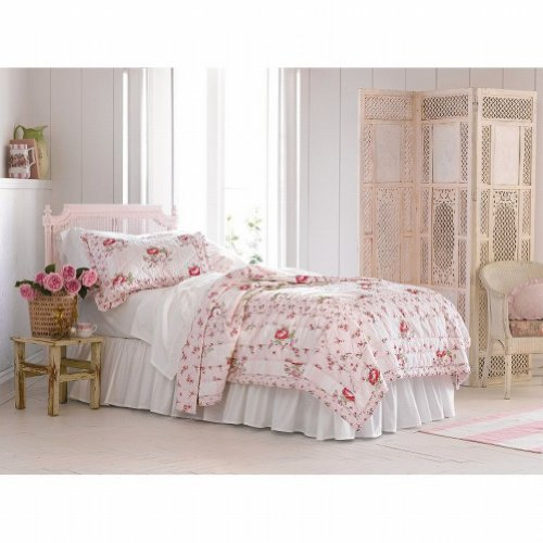 Simply Shabby Chic Twin Bed Quilt Pink Floral Mayberry Rose Flowers front-1008280