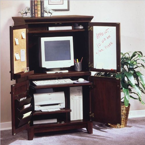 Home Styles Furniture Solid Hardwood Computer Armoire in Coffee