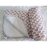 Handicraftofpinkcity Flower Print Kanth Blanket Hand Made Jaipuri Print Rajai Hand Block Print Kantha Throw
