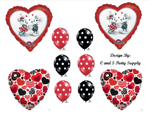 Red Mickey And Minnie Mouse Decorative Birthday Party Balloons Decorations Supplies front-827782