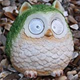 CostMad Solar Powered LED Cute Owl Lights Garden Ornament Statue Figure Decorative Outdoor Spotlights Lighting Tree Lawn Patio Lamp (Green)