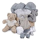 Canastilla regalo beb� en caja Soft Ensue�o Liso Punto BebeDeParis-Gris- cesta para beb� con ropa y complementos especial temporada oto�o invierno- Talla: 3-6 meses- regalo nacimiento