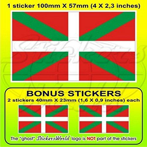 Drapeau-Pays-Basque-EUSKADI-Pas-Vasco-Espagne-102-cm-Bumper-Sticker-en-vinyle-100-mm-en-x1-2-Bonus