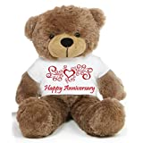Brown 2 Feet Big Teddy Bear Wearing A Happy Anniversary T-shirt - B00KUDZHXW