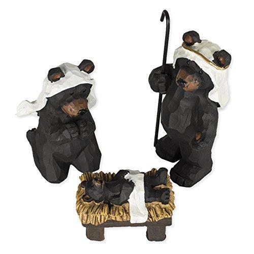 Black Bear Nativity Set 3 Pc Figurine Set (Bear Nativity Set compare prices)