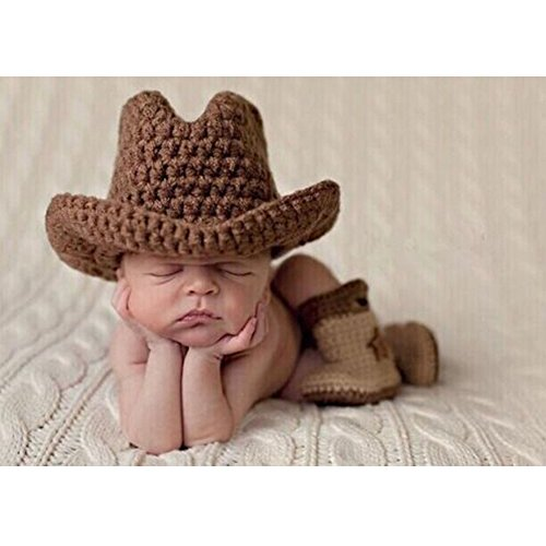 Zonegear Infant Photography Prop Set Newborn Knit Crochet Cowboy Outfit for Baby Boy (0-1 month)