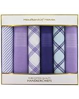 Cotton Men's Handkerchiefs Box Of 6 Purple Handkerchiefs (HH55) In A White Box - Box Of 6 Purple Plain and Pattern Handkerchiefs by Handkerchief Heaven