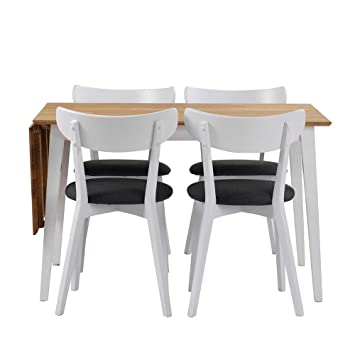 Esstisch mit Stuhlen in Weiß Eiche massiv Grau Webstoff (5-teilig) Pharao24