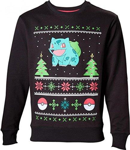 Pokemon Pullover - S - Christmas Bulbasaur, Nero
