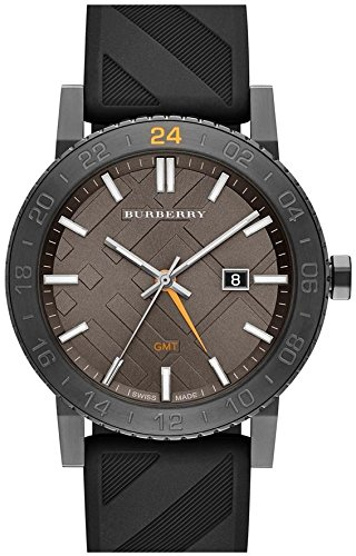 Burberry Unisex Swiss GMT Black Check Rubber Strap Watch 42mm BU9341