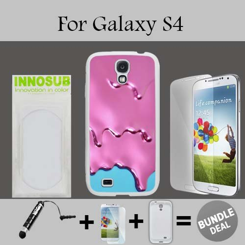 Pink Melt Ice cream Custom Galaxy S4 Cases-White-Plastic,Bundle 3in1 Comes with Screen Protector/Universal Stylus Pen by innosub (Pink 3d Melt Ice Cream Galaxy S4 compare prices)