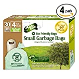 Green N Pack Eco Friendly Small Garbage Bags 4 Gallon 30-Count Boxes (Pack of 4)