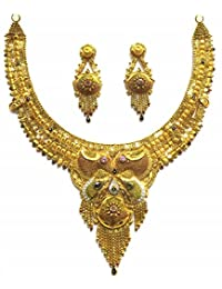Shingar Jewellery Ksvk Jewels Antique Gold Plated Necklace Set (Bandhel) For Women (8915-g)