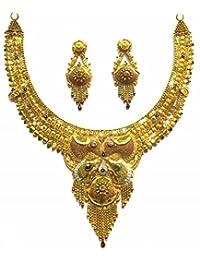 Shingar Jewellery Ksvk Jewels Antique Gold Plated Necklace Set (Bandhel) For Women (8915-g)