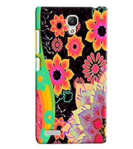 Blue Throat Flower On Black Pattern Hard Plastic Printed Back Cover/Case For Xiaomi Redmi Note Prime