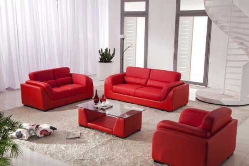 Vig Furniture 2929 - Red Bonded Leather Sofa Set With Coffee Table