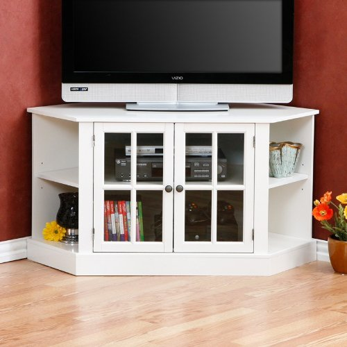 Image of Corner Media TV Stand with Adjustable Shelves Crisp White Finish (AZ00-46413x20169)