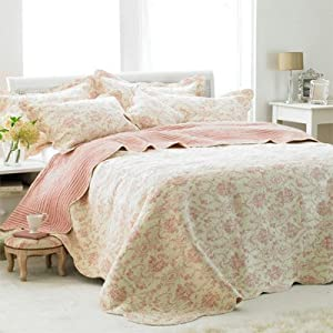 Paoletti Etoille Toile De Jouy Cotton Quilted Bedspread, Cream/Pink, Super King       Customer review and more information