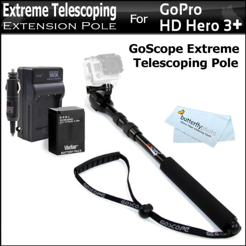 Goscope Extreme Telescoping Extension Pole For Gopro Hero Cameras 17-37 For Gopro Hd Hero3+, Hero3 + Replacement Battery And Rapid Travel Charger For Gopro Ahdbt-201, Ahdbt-301, Ahdbt-302