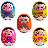 Saffire Push And Shake Wobbling Roly Poly Tumbler Doll With Soft And Sweet Bell Sounds, Multi Color