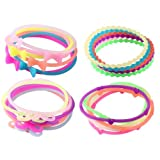Jelly Bracelet Glow In The Dark Silicone With Bow Hearts Mustache Beads-24 Pieces