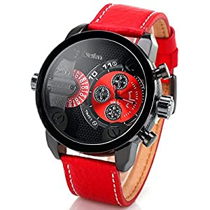 Oulm Men Watch With Double Movt Numbers and Strips Hours Marks Leather Band and Gift Box