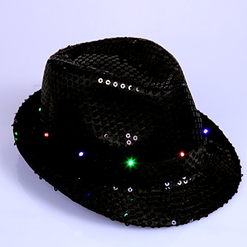 Anleolife Supreme Party & Novelties LED Flashing Fedora Dance Hat/New fashion Fedoras Sequins show hat Men and women Coloful Performing Paillette Jazz Fedoras Dance Hat Bling Hats 58cm/23'' Kids Adults General Use(black)