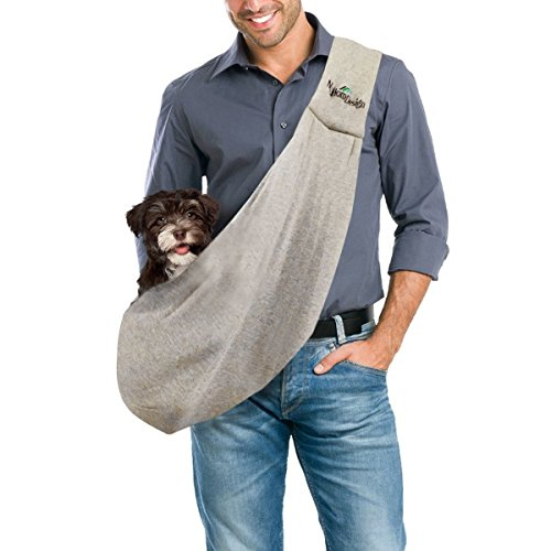 Pet Carrier Bag by FurryFido. High Rated, Safe, Comfortable, Machine Washable, Reversible Dog, Pet, Cat Sling for Large and Small Pets. Bring Your Pet Along in the Best Dogs Accessories. Grey