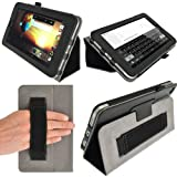 IGadgitz Premium Folio Black PU Leather Case Cover for HP Slate 7 2800 2801 With Hand Strap + Multi Angle Viewing Stand + Screen Protector
