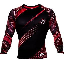 Venum Men\'s Rapid Long Sleeve Rash Guard Black/Red Large