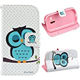 Bocideal 1pc 2014 Cute Sleeping Owl Leather Cover Case For Samsung Galaxy S3 mini i8190 (Cute Sleeping)