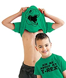 Youth Ask Me About My T-Rex T Shirt Funny Flip Up Trex Shirts For Kids from Crazy Dog Tshirts