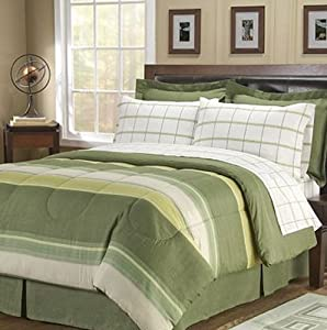Green striped plaid boys twin comforter set 6 piece bed in a bag