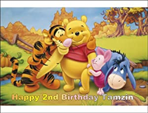 Winnie the Pooh Personalized 1/4 Cake Sheet Edible Icing Cake Topper, Use the Greeting Section on Checkout to Send Us Message