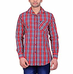 Cotblend Men's Casual Shirt (COTBLEBD18-M, Red, M)