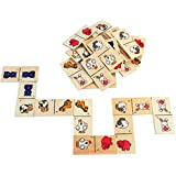 PIGLOO 28 Piece Farm Animal Domino Game In Wooden Box For Kids Ages 3+ Years