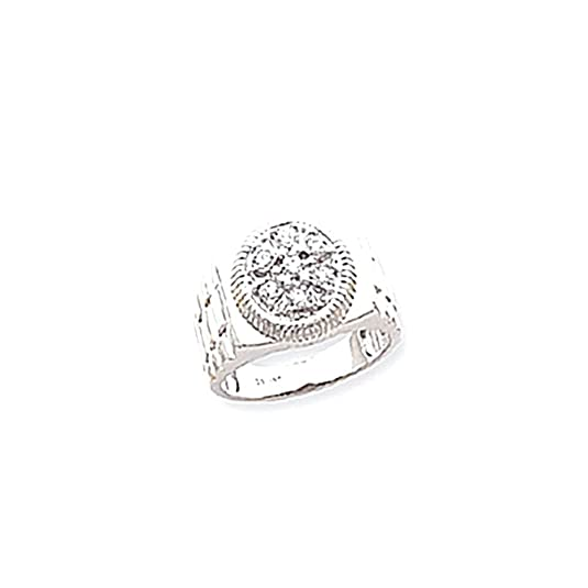 14k White Gold AA Diamond men's ring