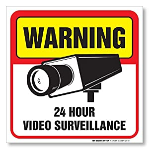 """Warning 24 Hour Video Surveillance Sign - 5 ½"""" X 5 ½"""" - Self Adhesive 4 Mil Vinyl Decal - 4 Pack"""