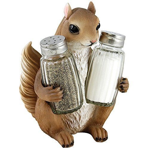 Home n Gifts Decorative Squirrel Glass Salt and Pepper Shaker Set with Holder Figurine for Rustic Lodge & Cabin Kitchen Table Decor Sculptures or Wildlife Animal Statuettes As Unique Housewarming