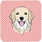 "Caroline's Treasures BB1205FC Checkerboard Pink Golden Retriever Foam Coaster (Set Of 4), 3.5"" H X 3.5"" W, Multicolor"