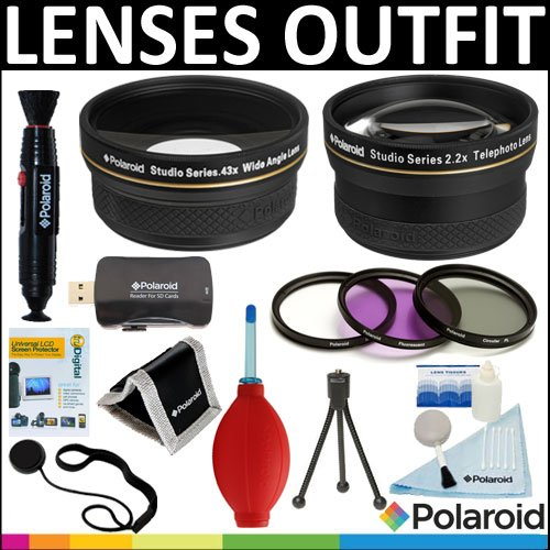 Polaroid Studio Series .43X HD Wide Angle Lens + Polaroid 2.2x HD Telephoto Lens + Polaroid Optics 3 Piece Filter Set (UV, CPL, FLD) + Cleaning & Accessory Kit For The Canon Digital EOS Rebel T3 (1100D), T3i (600D), T1i (500D), T2i (550D), XSI (450D), XS