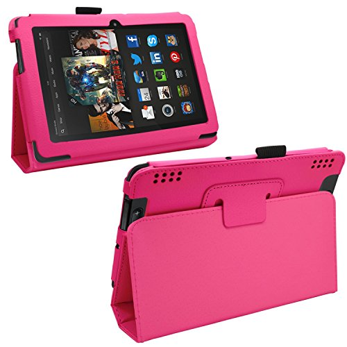 "Samrick - Amazon Kindle Fire Hdx 7"" Inch - Executive Specially Designed Leather Book Folio Wallet Case With Exclusive Viewing Stand - Pink"