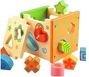 Babylian Baby Color Recognition Intelligence Toys Bricks,Wooden Shape Sorter Cube,Early Childhood Education for 1-3 Years Old,CPSC Certification.
