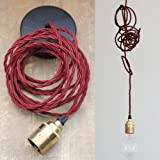 Pendent Set. Lighting Kit. E27 Brass holder, Burgundy twisted fabric cable