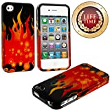 myLife (TM) Red + Black Flames and Circles Series (2 Piece Snap On) Hardshell Plates Case for the iPhone 4/4S... by myLife Brand Products