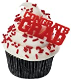 *FREE STANDARD SHIPPING - 24 Picks - Graduation Red CONGRATS GRAD - Official Crispie Sweets Cupcake Topper KIT - w/ Dusting Sugar Sampler & Bonus Card - We Ship Within 1 Business Day w/ *FREE Standard Shipping!