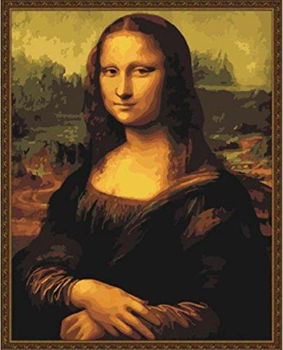 [Wooden Framed] Diy Oil Painting, Paint By Number Kit- Mona Lisa Smile By Leonardo Da Vinci 16*20 Inch.