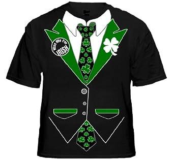 Irish Shamrock Tie Tuxedo T-Shirt #13A (Mens Small, Black)