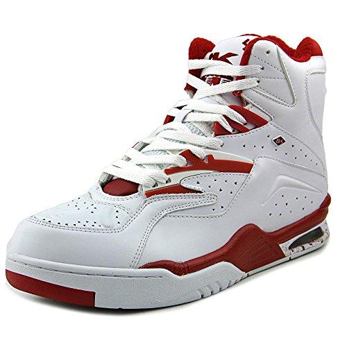 British Knights Men's Hightop Sneaker, White/Crimson Red, 11.5 M US