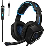 2018 Latest Version PS4 Headphones,Sades SA920PLUS 3.5mm Stereo Bass Gaming Headset with Microphone for New Xbox one PS4 PC Laptop Mac Newest Xbox ONE/360(Black Blue) (Color: Black)